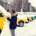 Russian avto and winter wedding