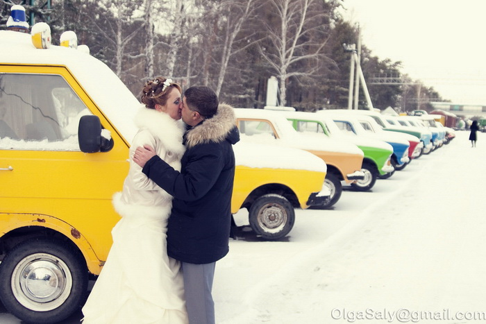 Russian avto and wedding