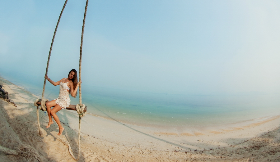 Girl on a swing Samui