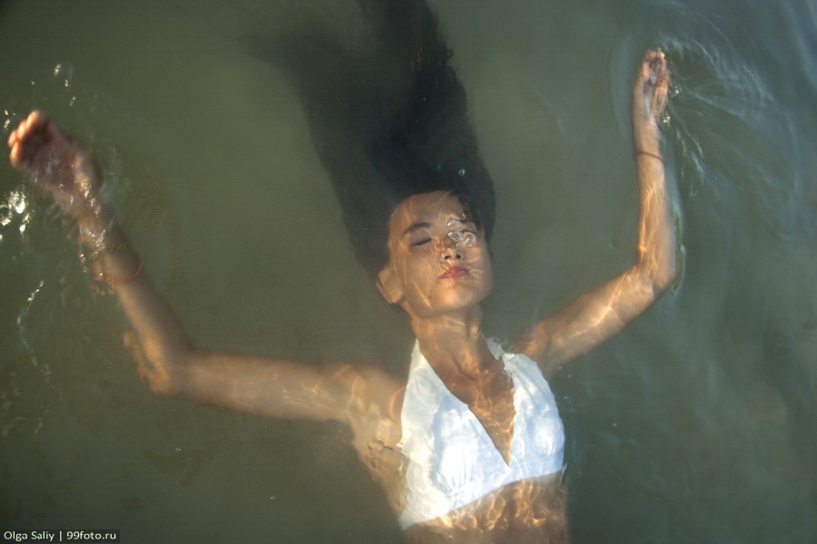 Beautiful woman under water