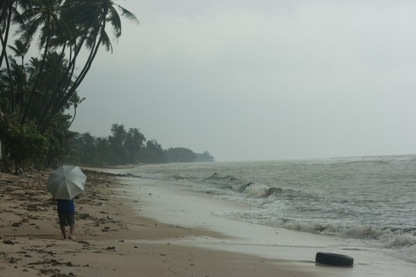 This same beach during the flood in Koh Samui