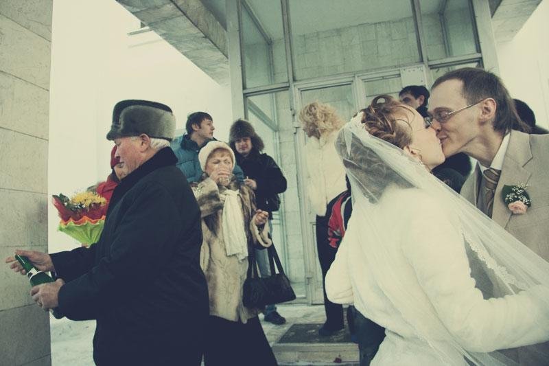 Winter wedding day