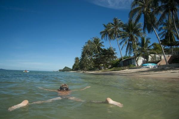 The sea in the hot season and the rainy season in Thailand