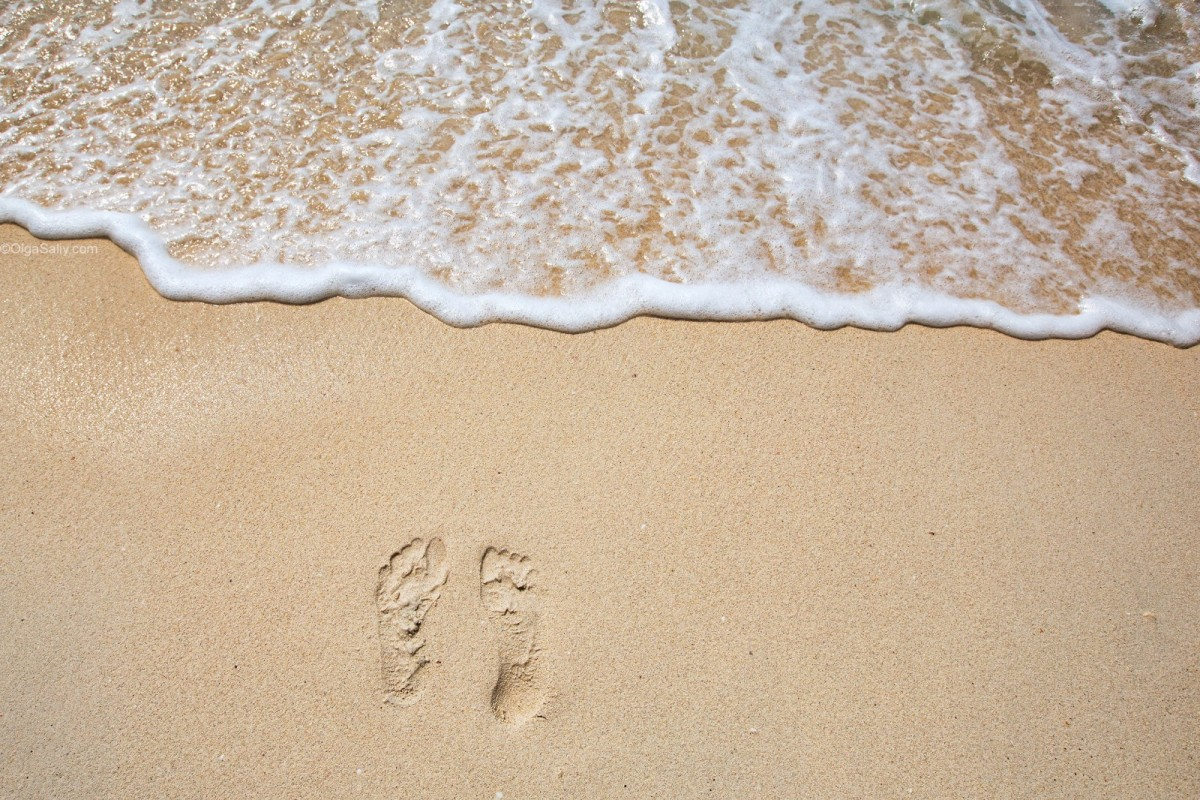 Footprints on sea shore. FreeDownload Wallpaper