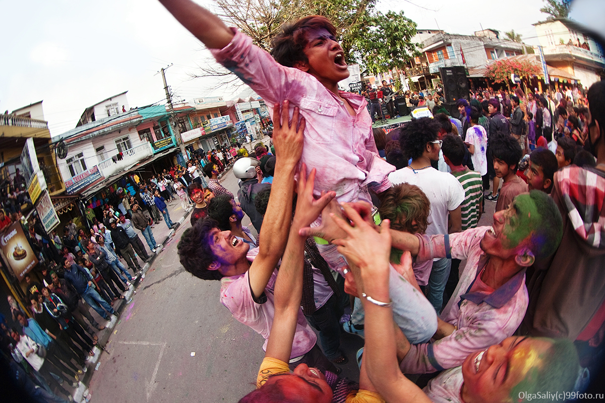 Holi Festival (Festival of Colors) in Nepal.