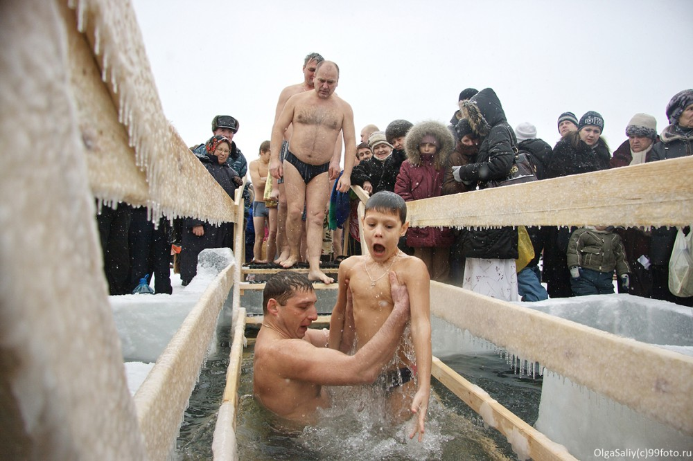 winter swimmer in Siberia