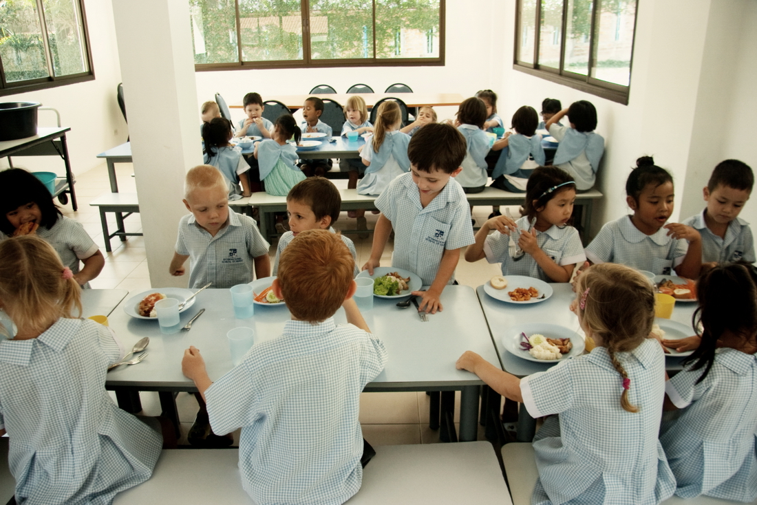 Lunch in the international kindergarten in Thailand