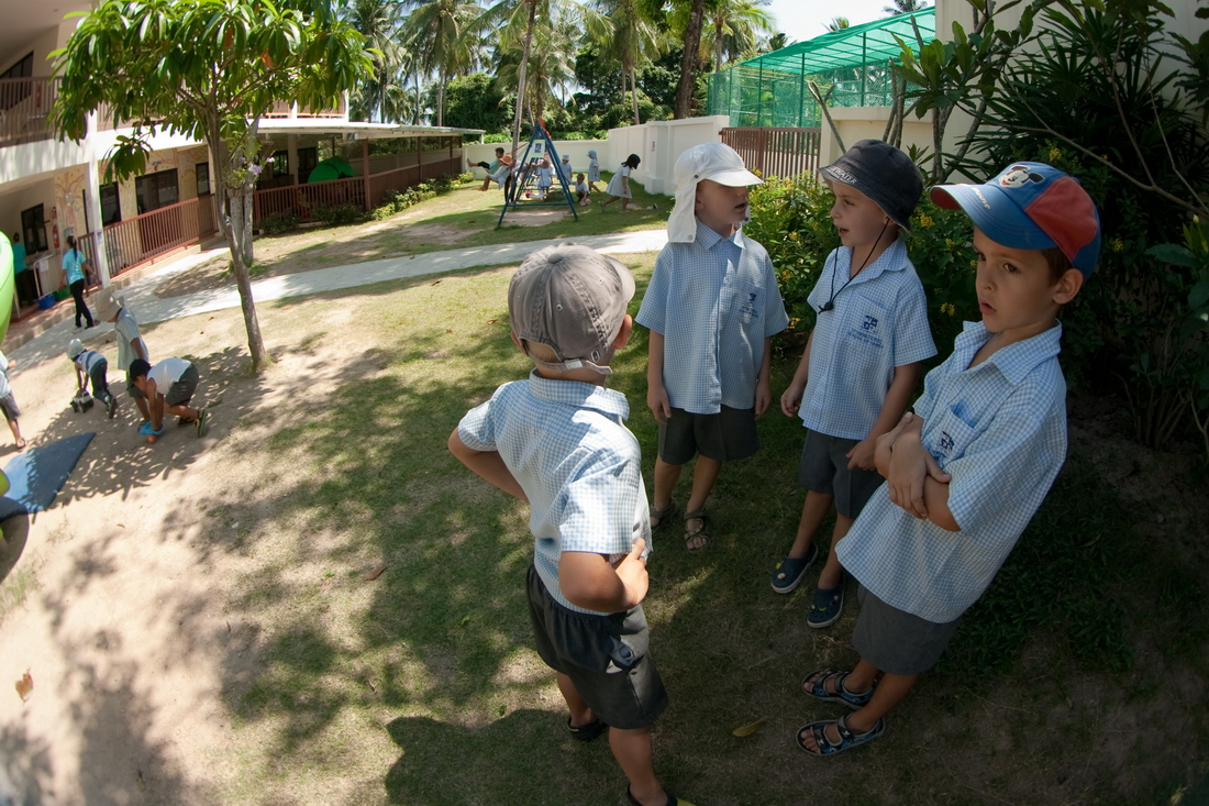 Boys in kindergarten in Thailand to discuss something important