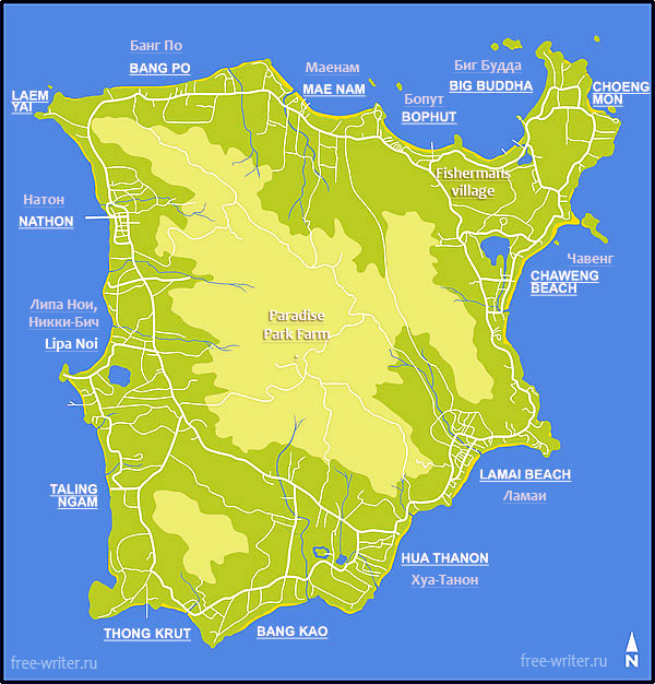 Samui map, beaches