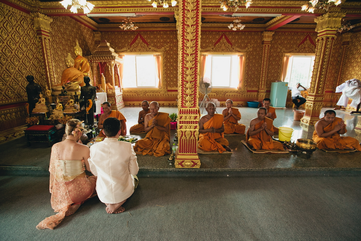 Wedding ceremony of Buddhist monks in Thailand