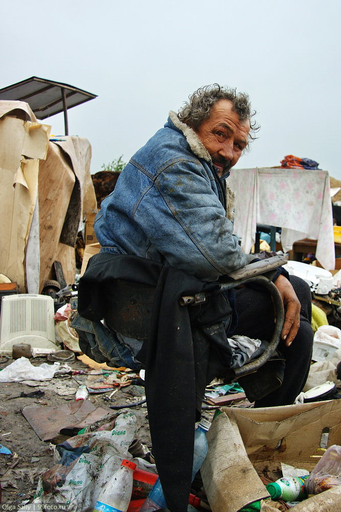 Homeless men at the dump