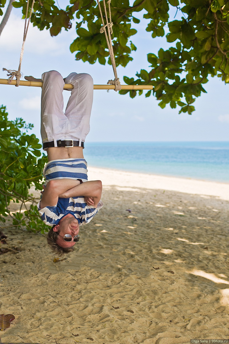 A man hanging upside down