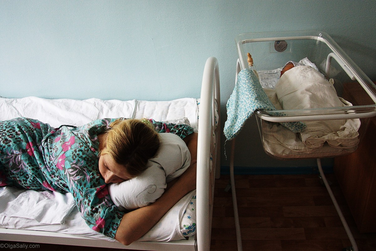 Young mother in Russian Maternity hospital