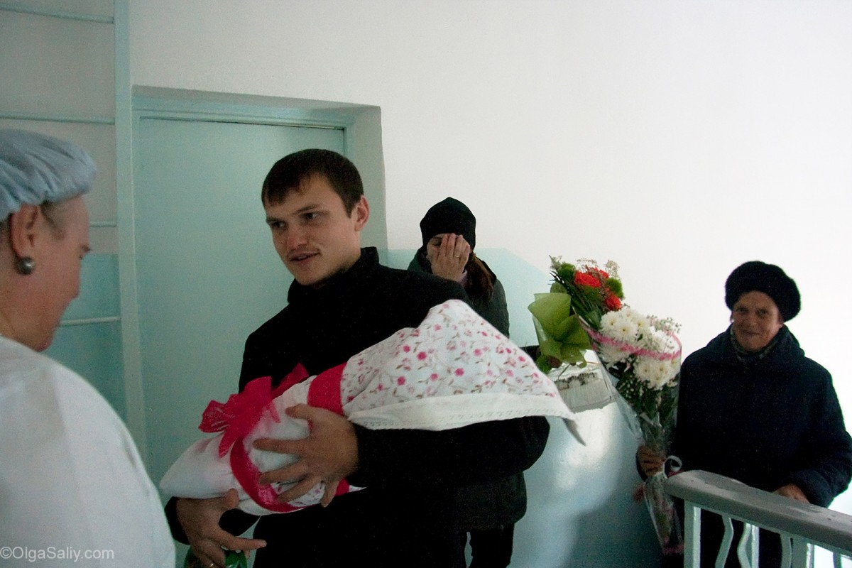 Father in Russian Maternity hospital