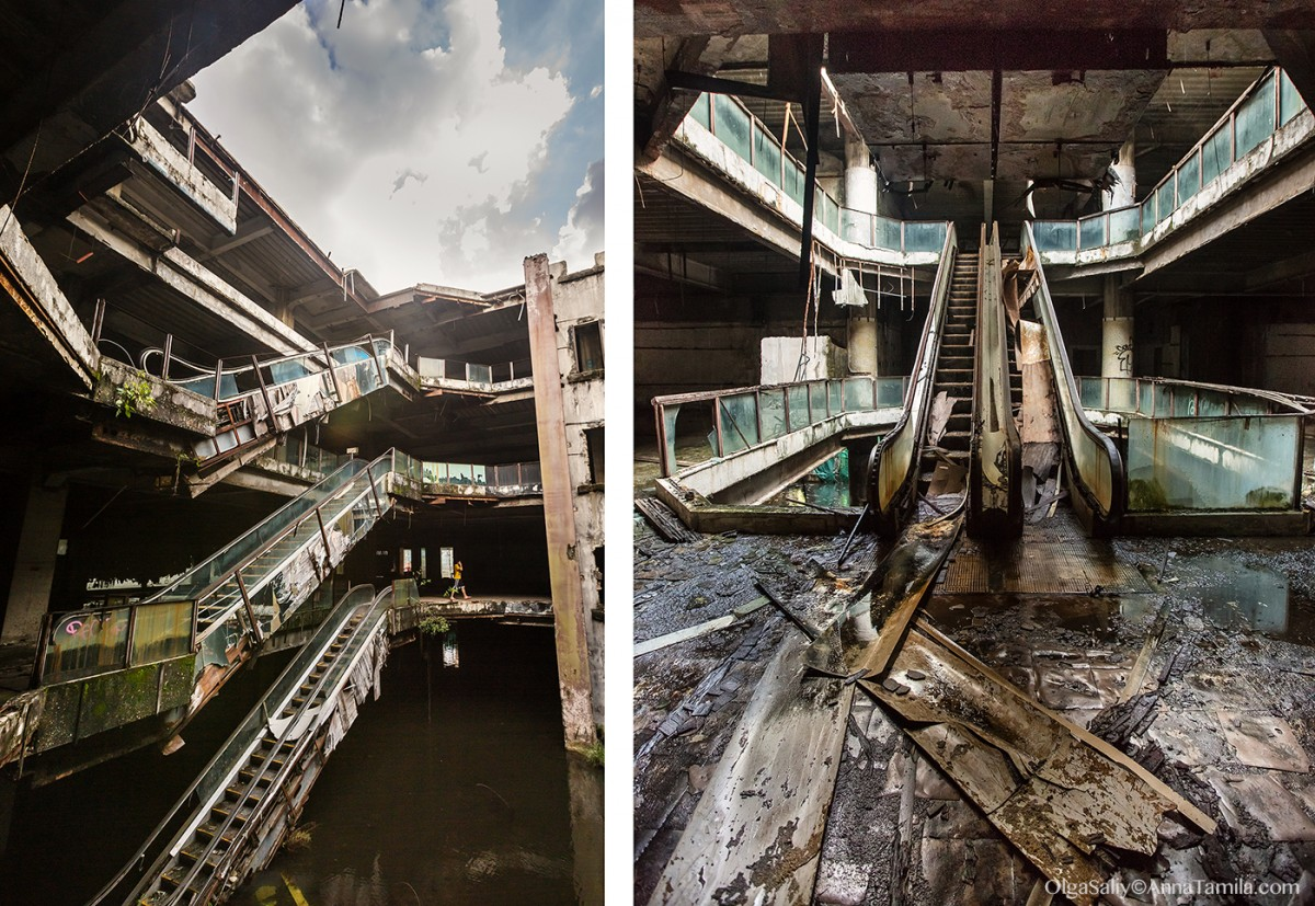 Abandoned shopping mall New World with fish in Bangkok (8)