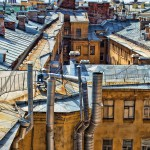 Saint Petersburg, Russia. Travel on the Roofs and different architectural faces