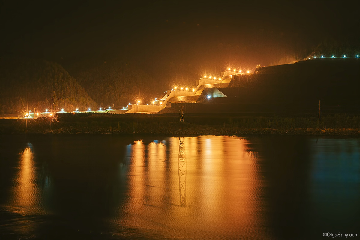 Sayano–Shushenskaya Dam Night Photography