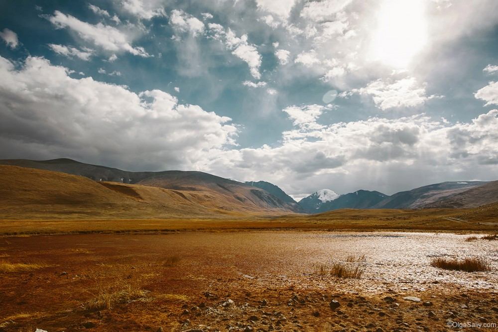 Altai Mountains. Travel in Russia. Red lake