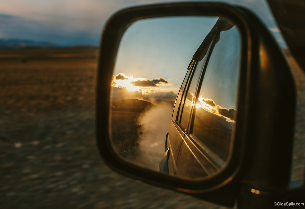 reflected in the rearview mirror