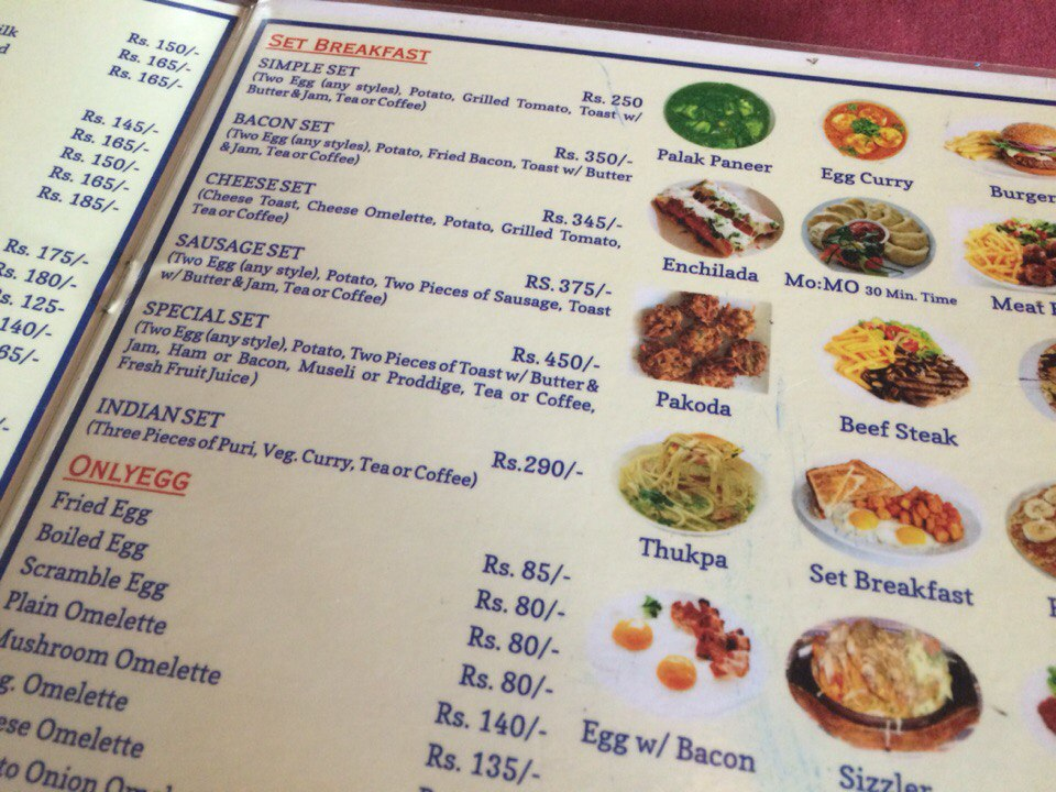 Nepal Menu - prices
