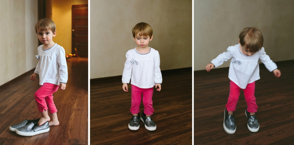 Little girl try big shoes
