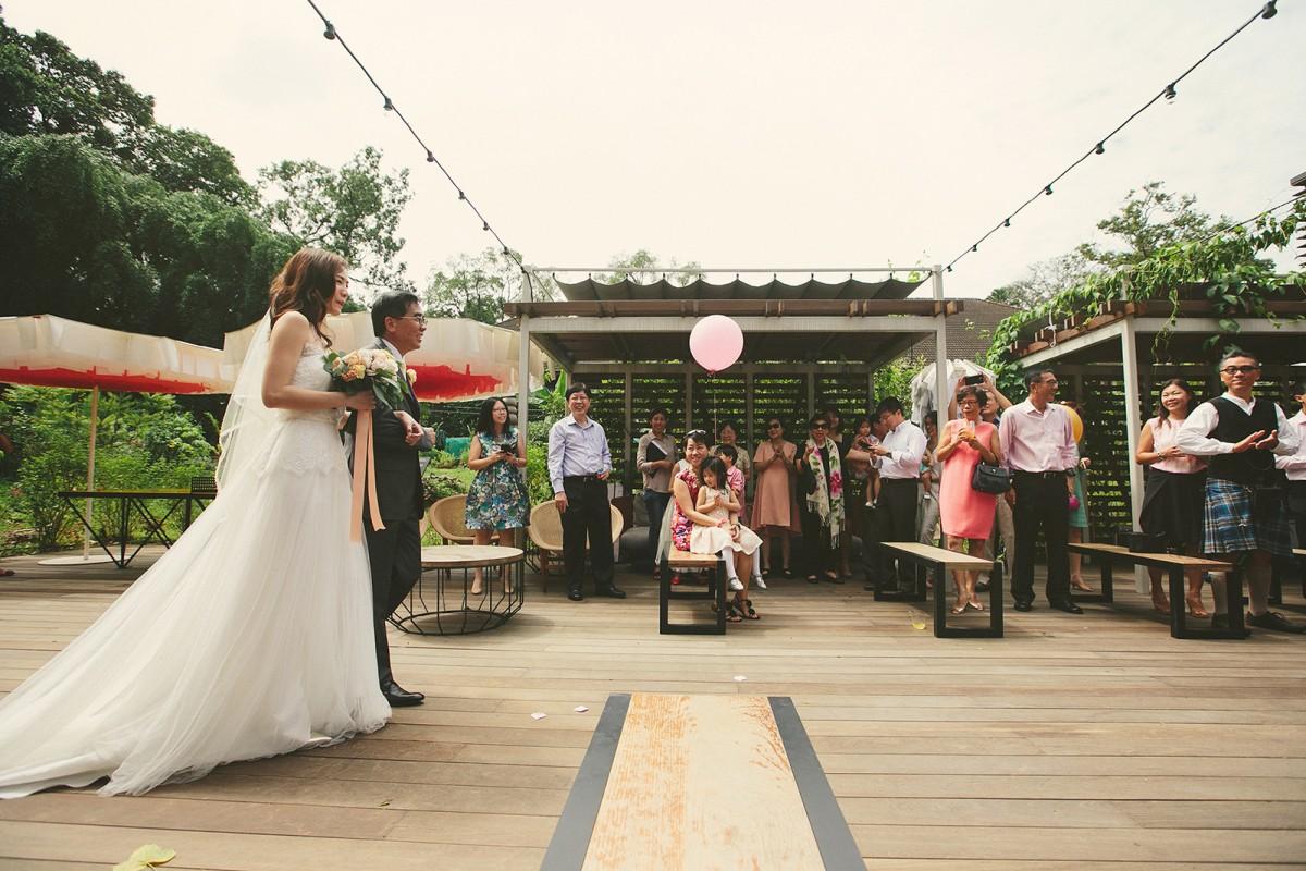Wedding Ceremony, bride with daddy