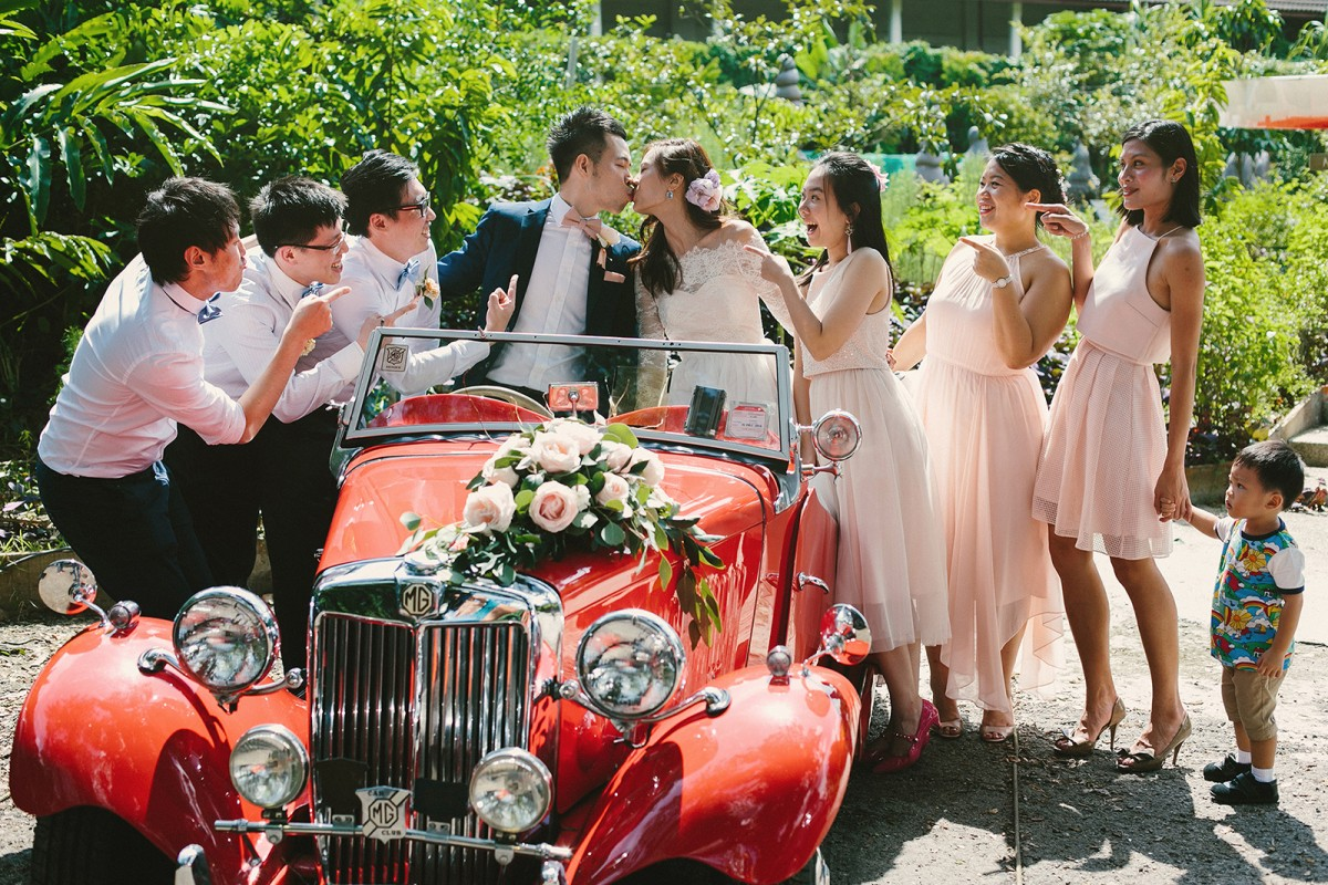 Bride groom with friends