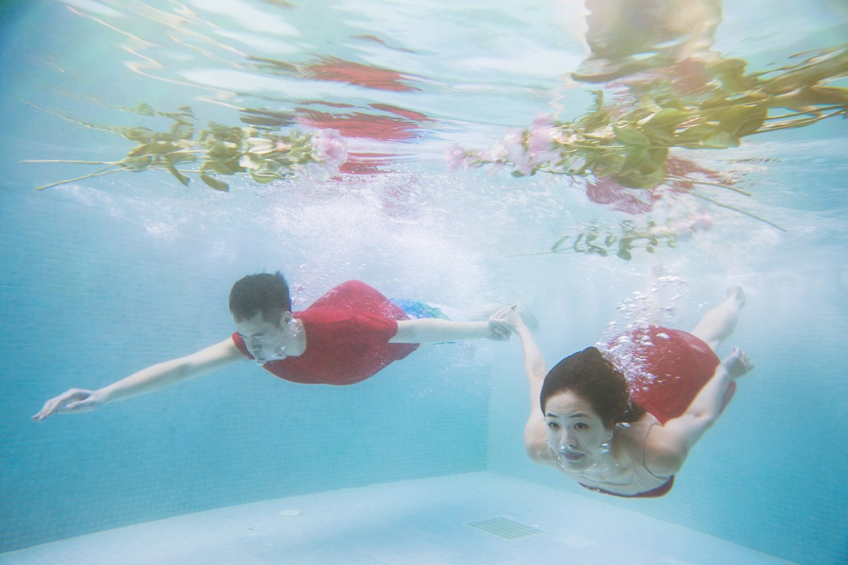 After Wedding day, underwater relax