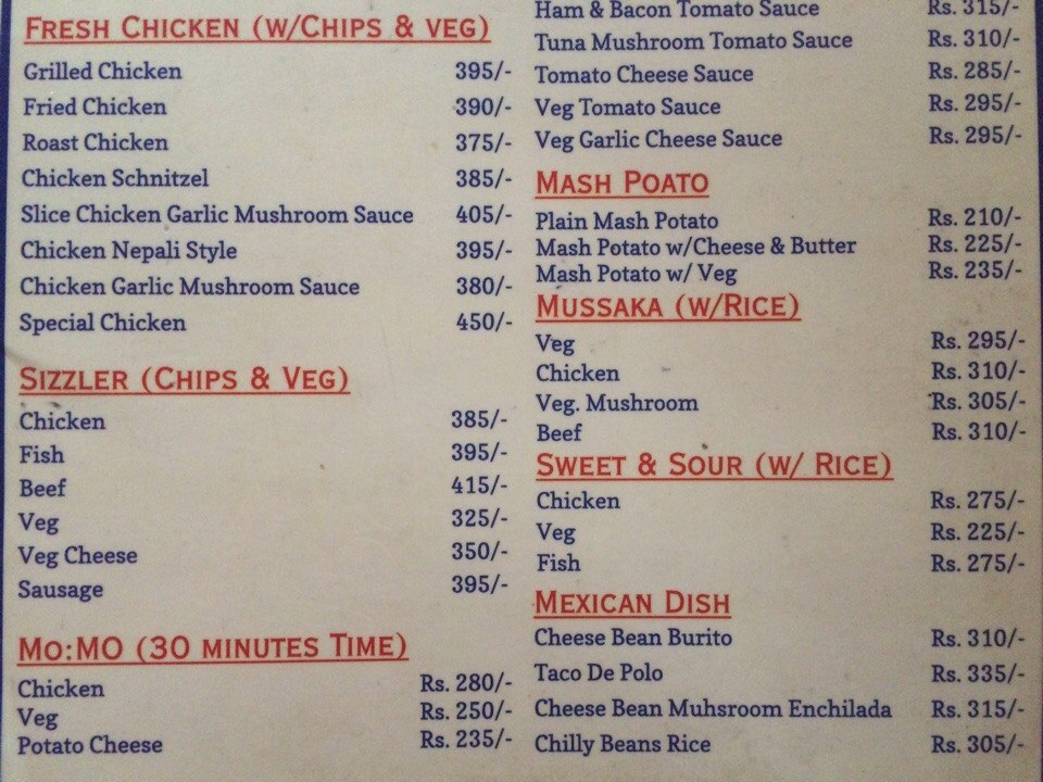 Nepali Food price in Pokhara and Kathmandu