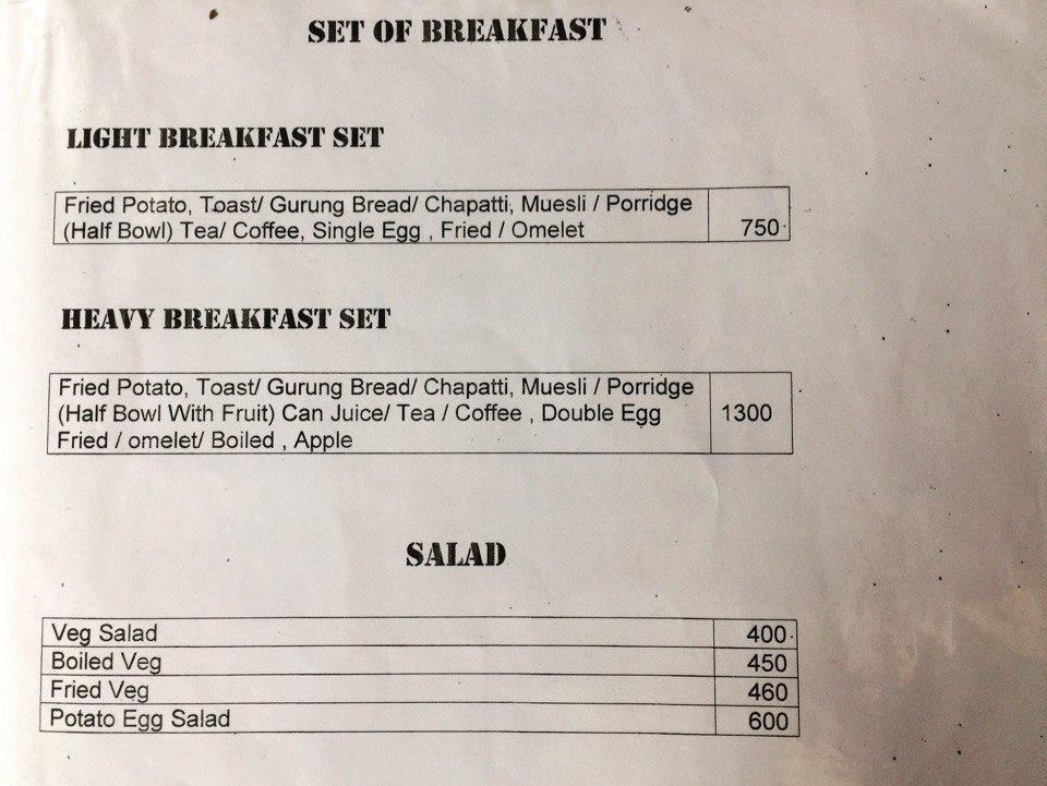 Menu and Prices in Nepali Trekking