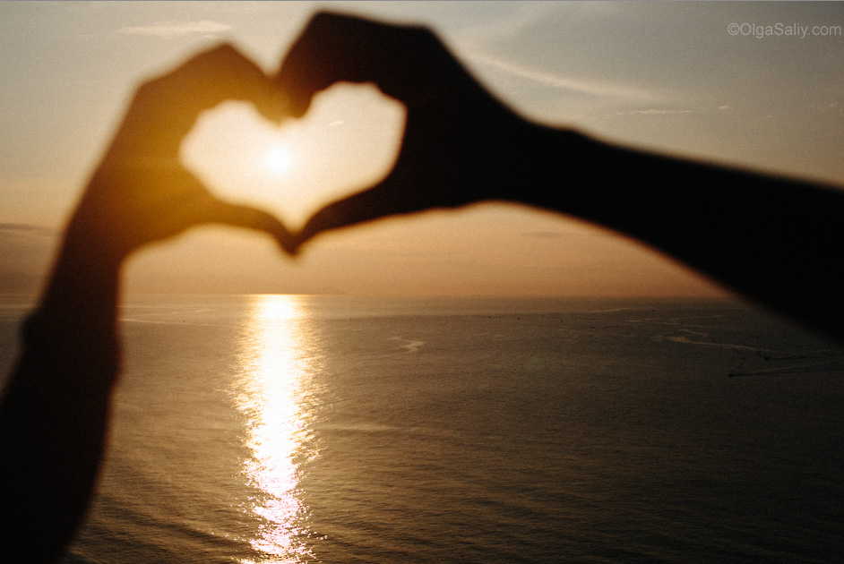 heart on sea background