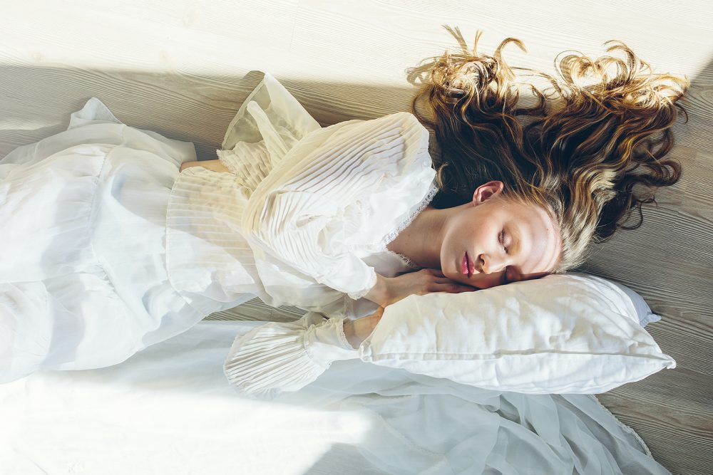 sleeping woman abstract art portrait