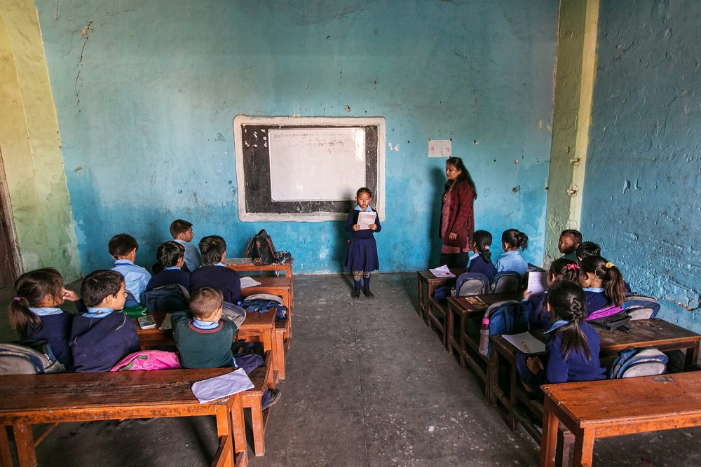 Unknown girl in the classroom lesson in the oldest school of Nepal Durbar High School