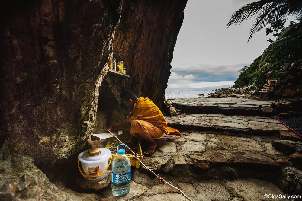 Monk living in cave Samui