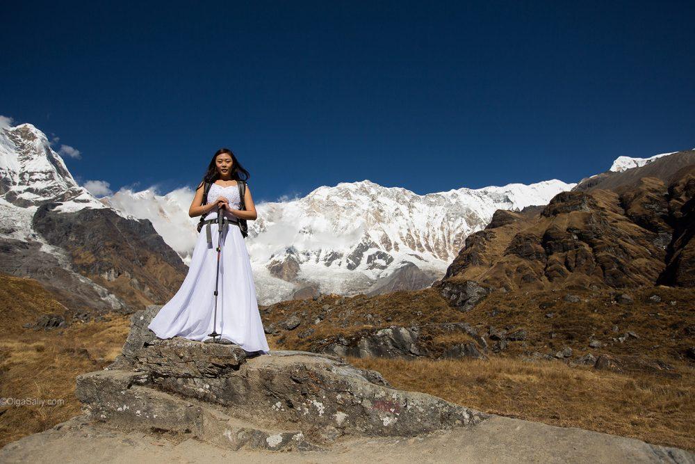 Bride in wedding dress in Nepal Mountains