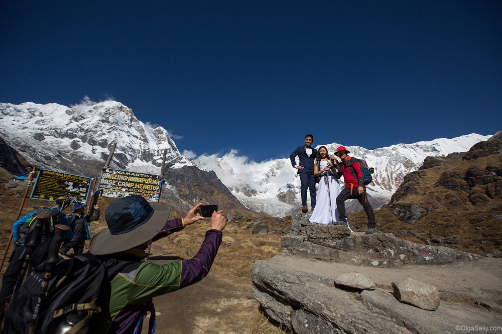 Bride and Groom in High Mountains