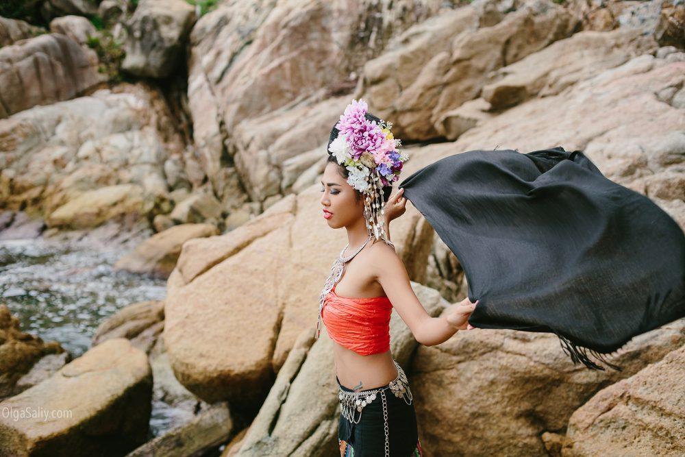 Beautiful Thai woman wearing thai dress