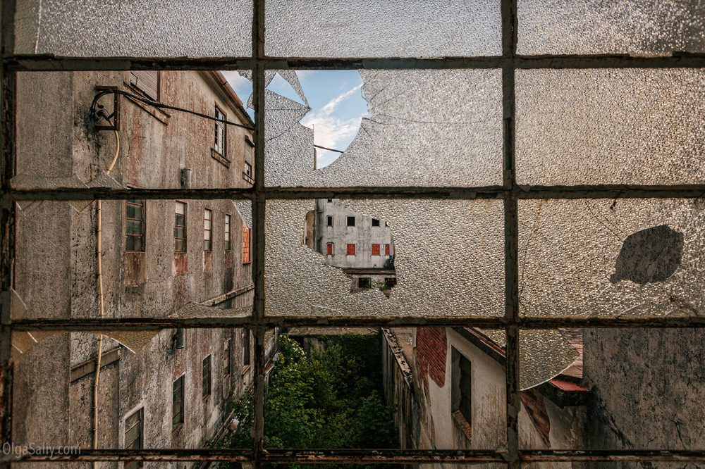 Broken window in Abandoned hospital