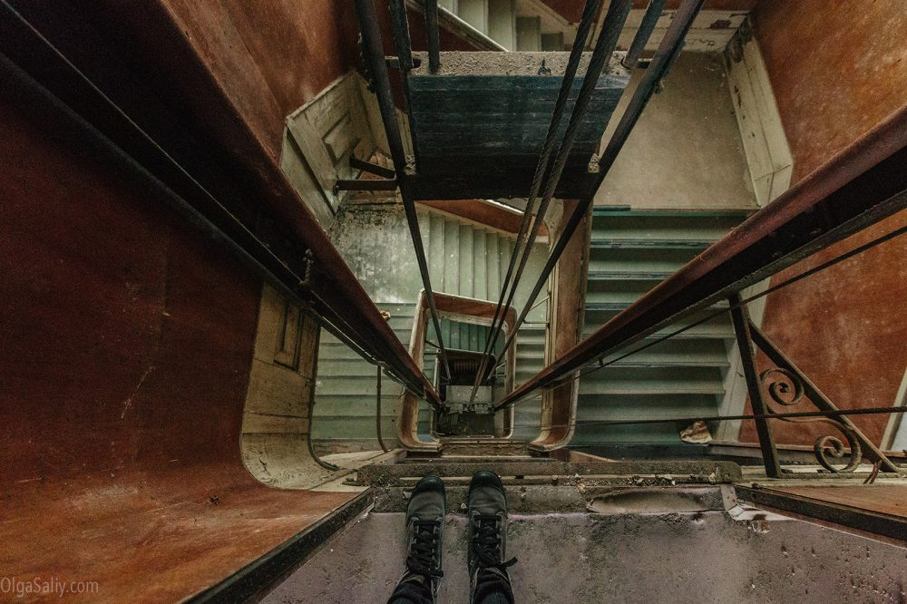 Elevator shaft in an abandoned building