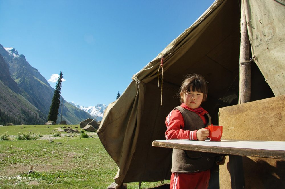 Kyrgyzstan girl, camp near Issyk-Kul