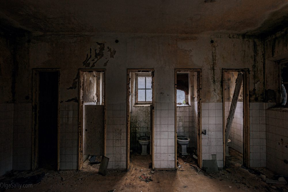 Toilets in Abandoned hospital, Portugal