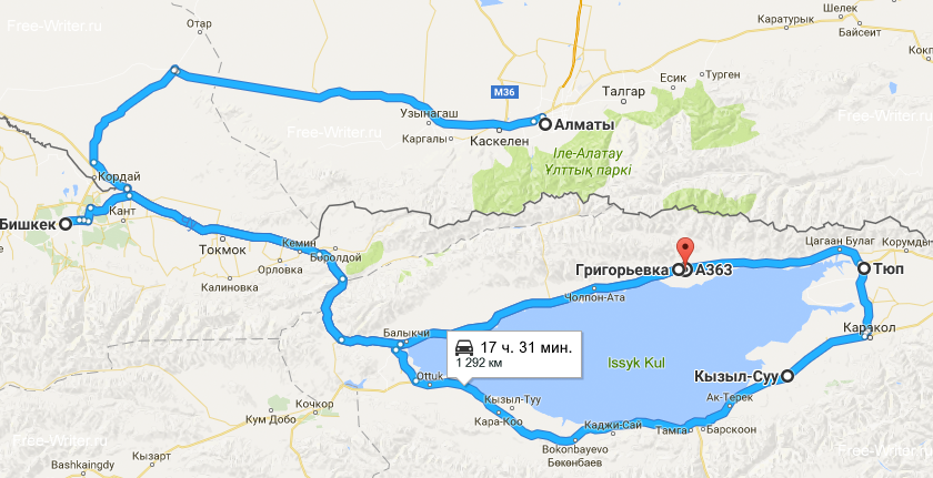 Issyk-Kul roadtrip map