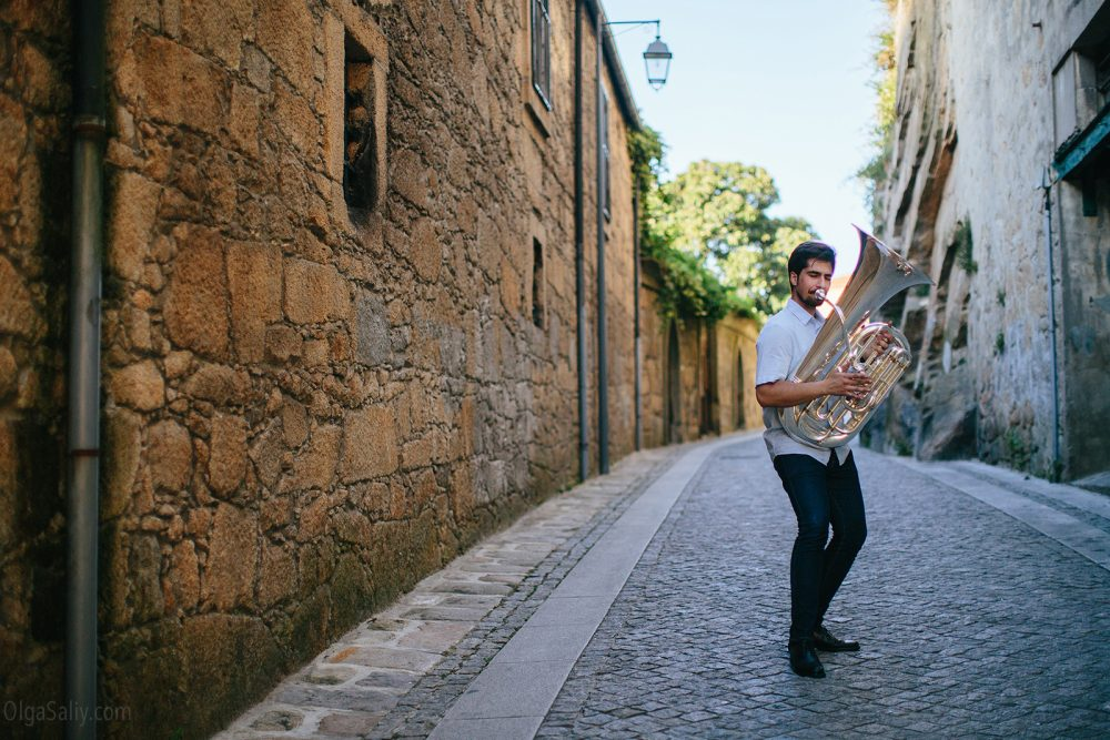 Musician with Tuba in Porto. Portrait photoshooting