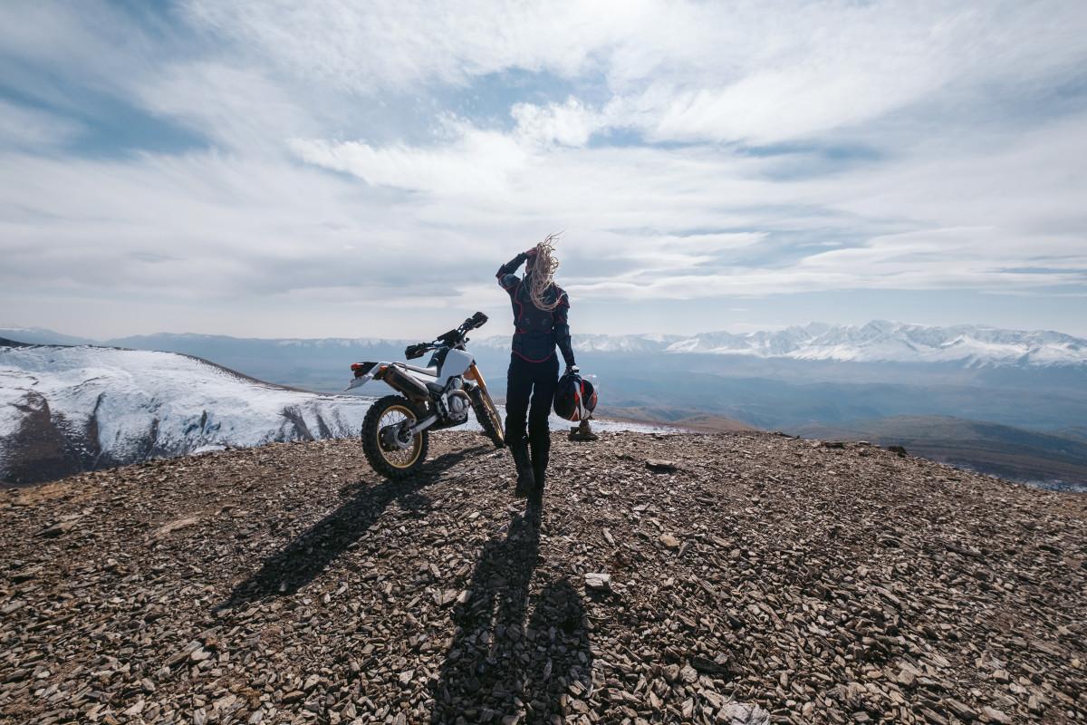 Altai Mountains offroad motorcycle travelling. Aktash