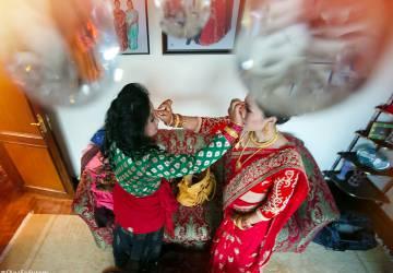 Sisters. Nepali Wedding day